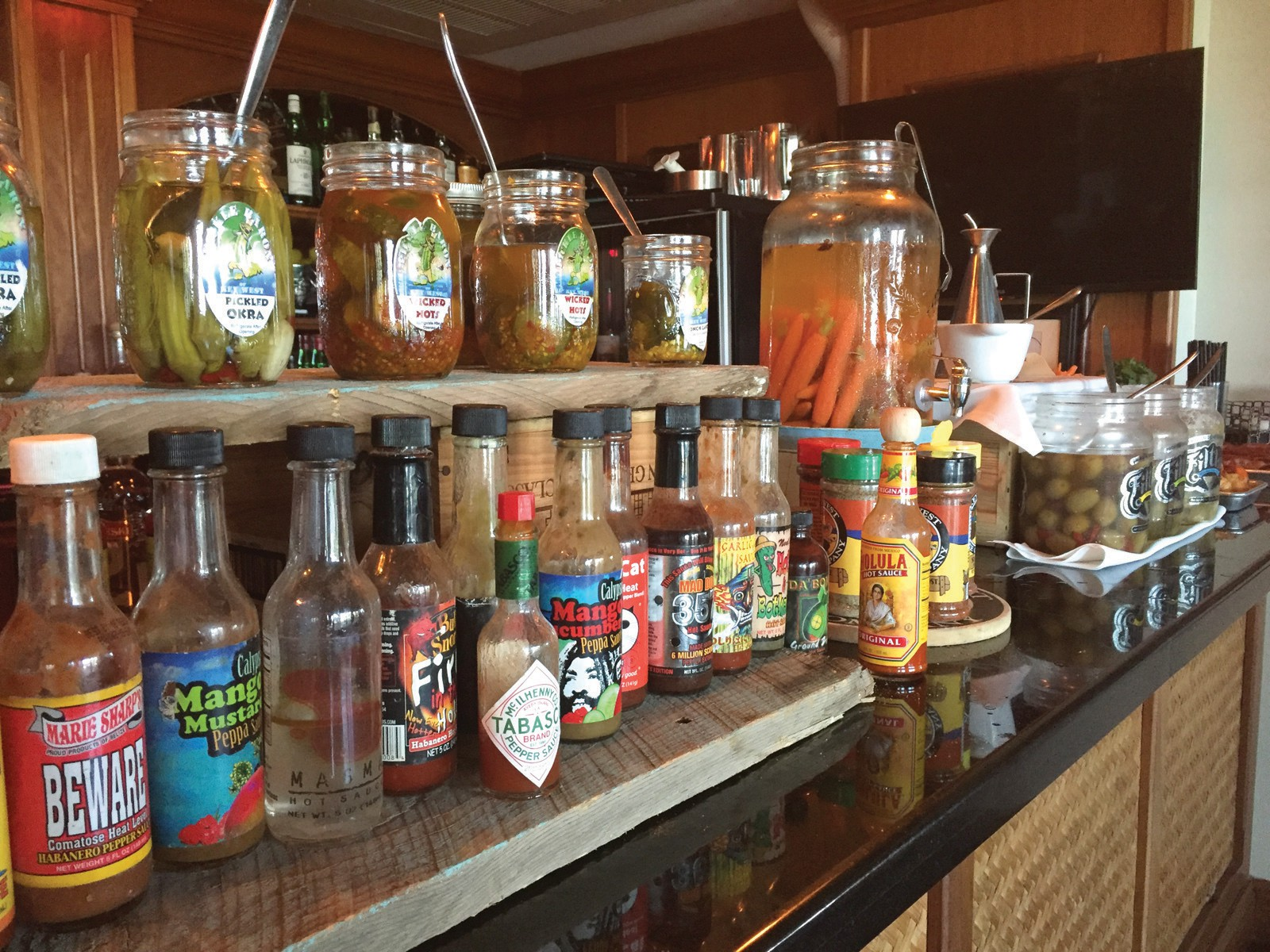 The Bloody Mary bar at Hot Tin Roof.