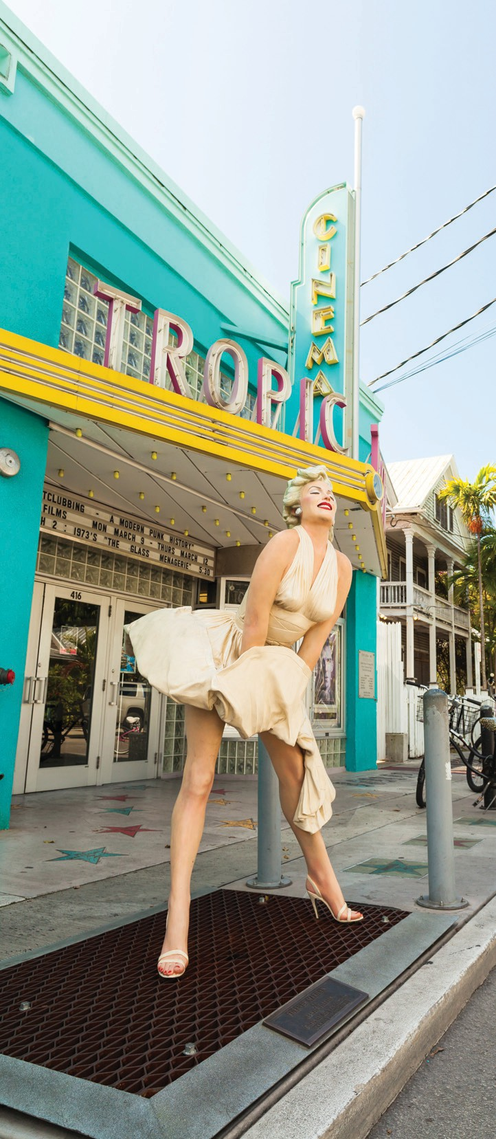 A statue of the classic Marilyn Monroe posed in front of the Tropic Cinema in Key West. COURTESY PHOTO