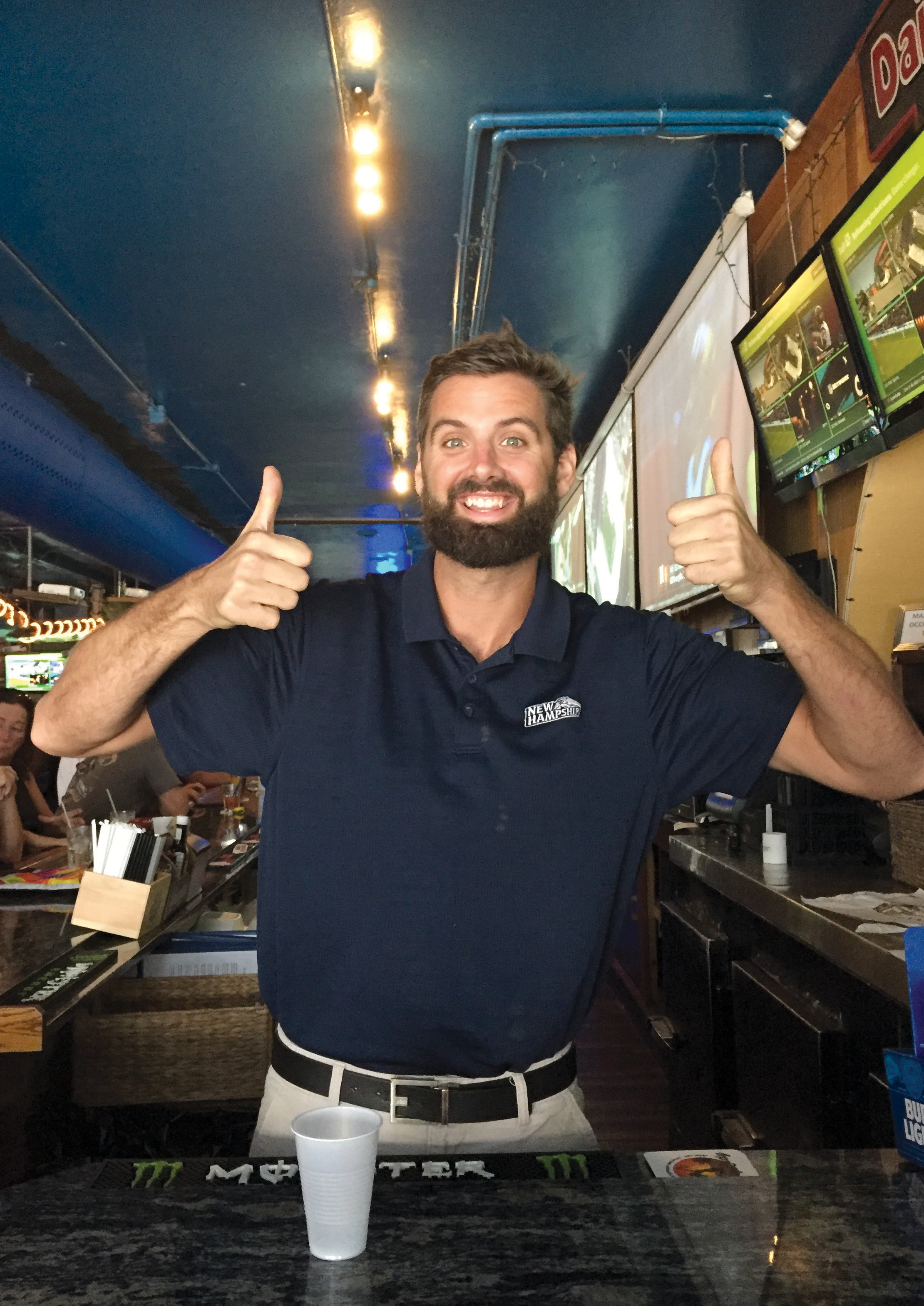 Bartender Matt Sheehan gives two thumbs up. COURTESY PHOTO