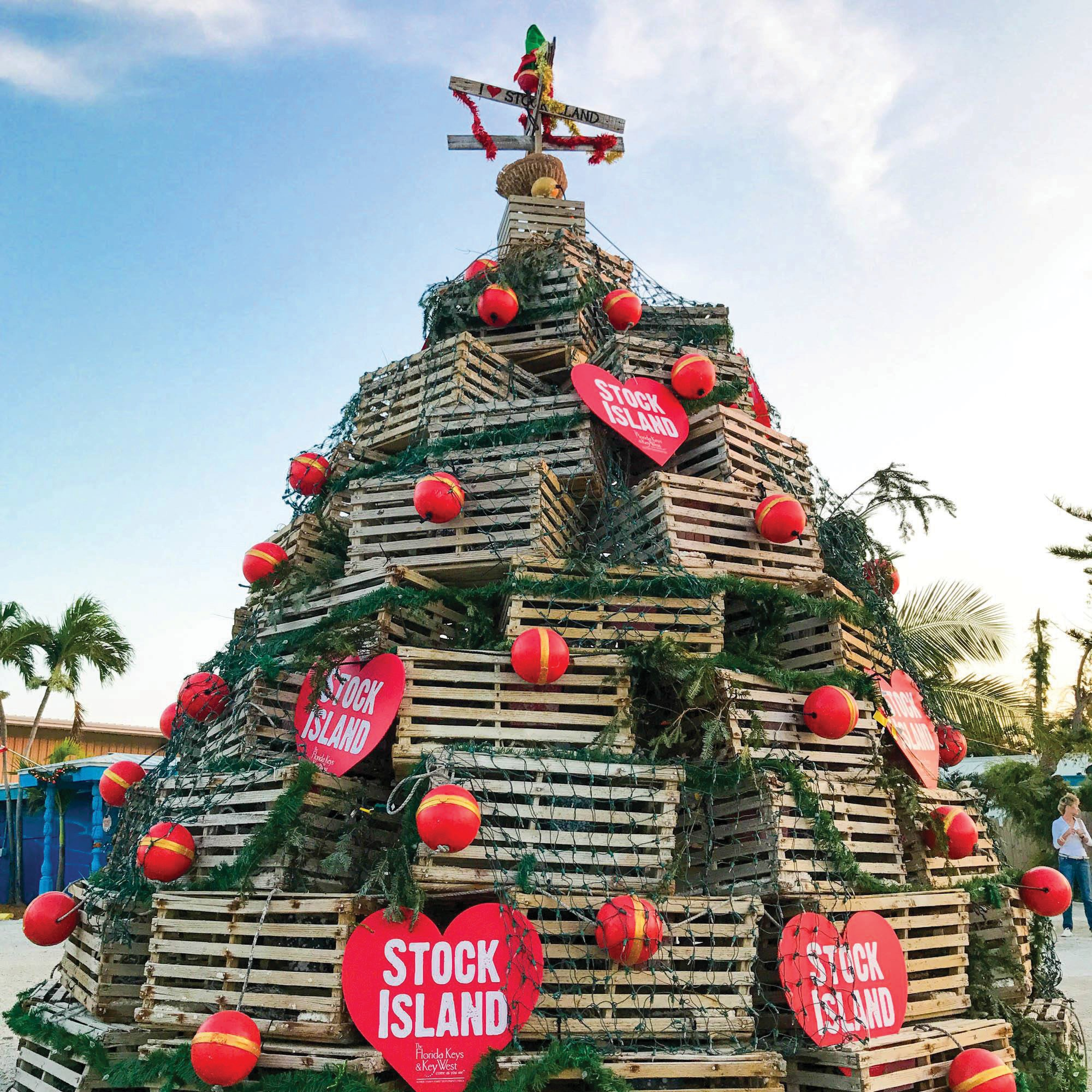 Above, the Stock Island Lobster Trap Holiday Tree. Left, lobster tails to sample.
