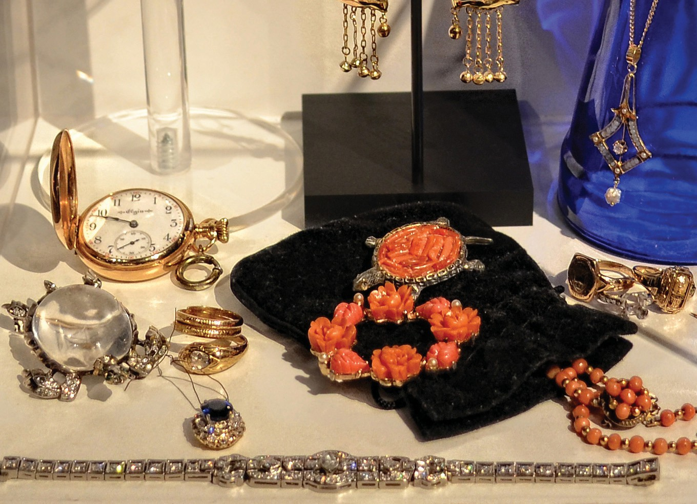 """A collection of vintage jewelry, loaned to the society by the late Connie Gilbert, during a previous """"Key West Collects."""""""