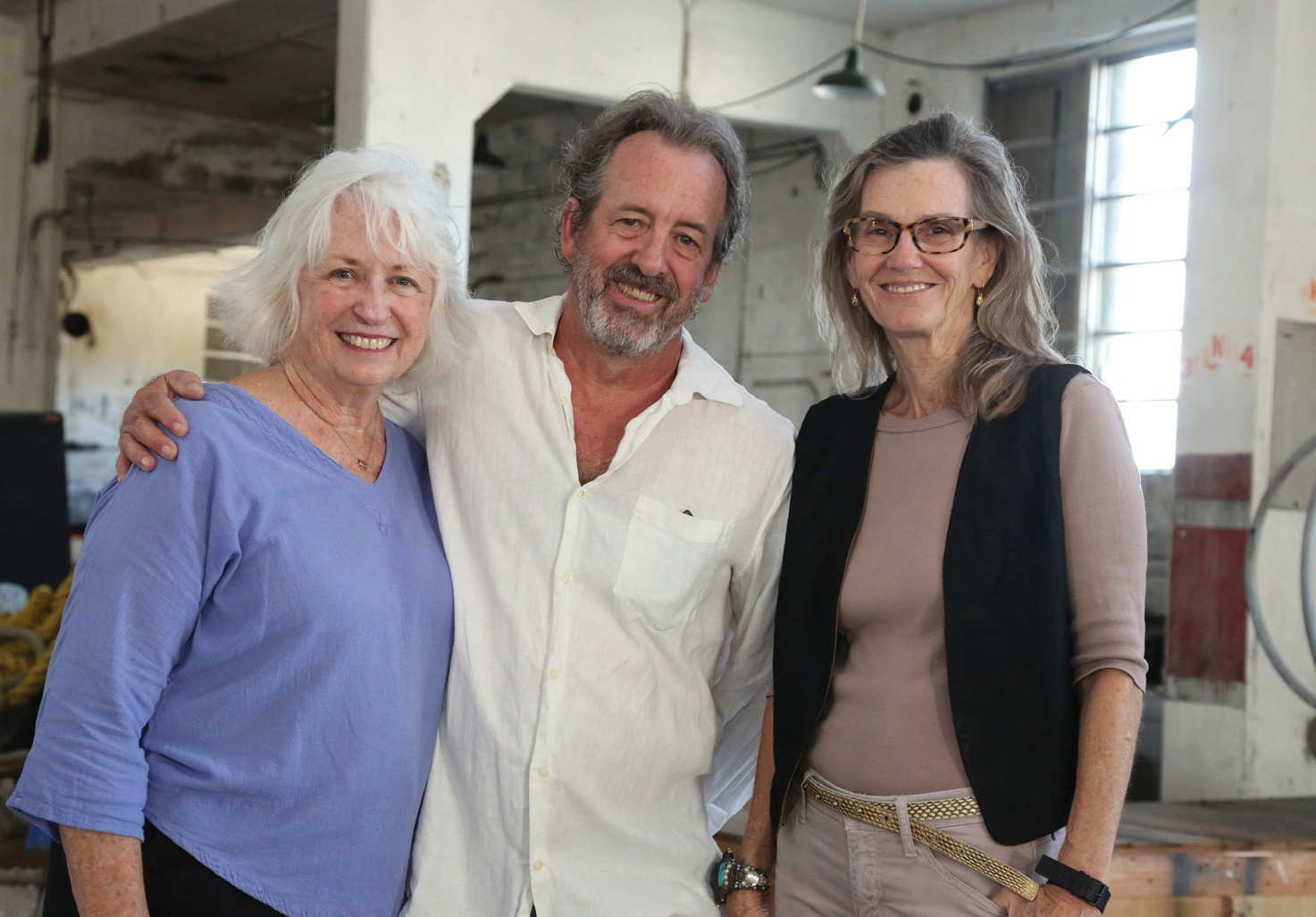 "Left to right, Judi Bradford, John Martini and Helen Harrison are three of the artists who rented studio spaces in decommissioned naval warehouses, machine-shops and residential facilities between 1974-1986, after the U.S. Navy abandoned its base in the present-day Truman Annex. Some of their works, along with others of the era, will be celebrated at the Key West Art & Historical Society exhibit, ""On the Waterfront: Truman Annex Artists,"" which opens Jan. 12 at 6 p.m. at the Custom House Museum."