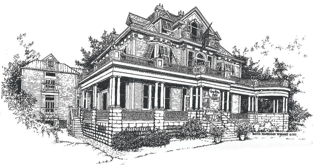 Above: Artist's rendering of the mansion. Left: The original Curry Mansion.