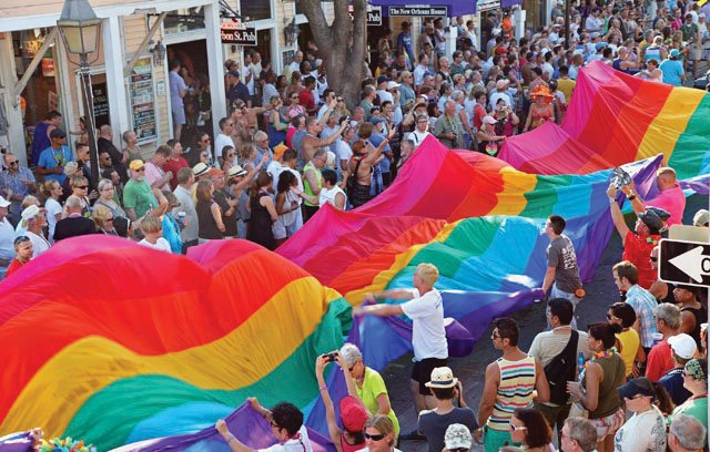 The rainbow flag makes its way down Duval Street during the Pride Parade. COURTESY PHOTO