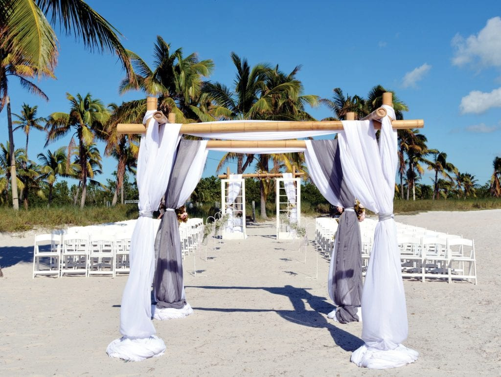 A set up for a outdoor tropical wedding on Smathers Beach. COURTESY PHOTO