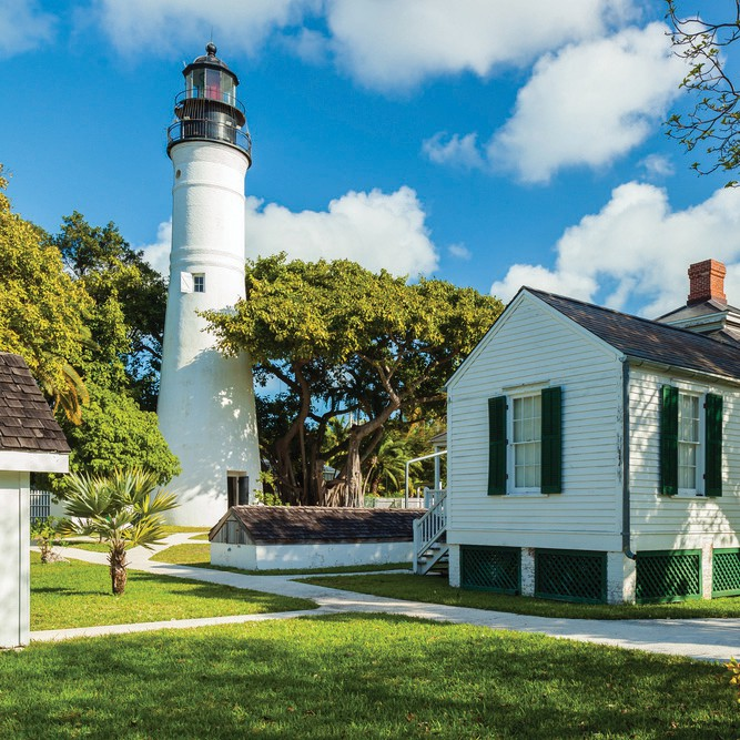 The historic Key West Lighthouse and Museum located on Whitehead Street.