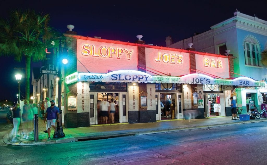 The famous Sloppy Joe's Bar opened on December 5, 1933, the day Prohibition was repealed. It was Earnest Hemingway, a famous patron, who urged the owner, Joe Russell, to adopt the name. On November 1, 2006, Sloppy Joe's was added to the National Register of Historic Places.