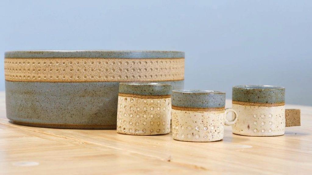 A sample of Mark's rustic ceramic offerings.
