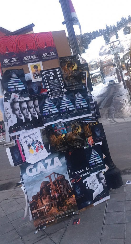 Posters from this year's Sundance Film Festival stack up on Main Street in Park City, Utah. PHOTOS COURTESY AND BY ERIC RADDATZ / FLORIDA WEEKLY