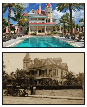 The Southernmost House Hotel now and then. COURTESY PHOTOS