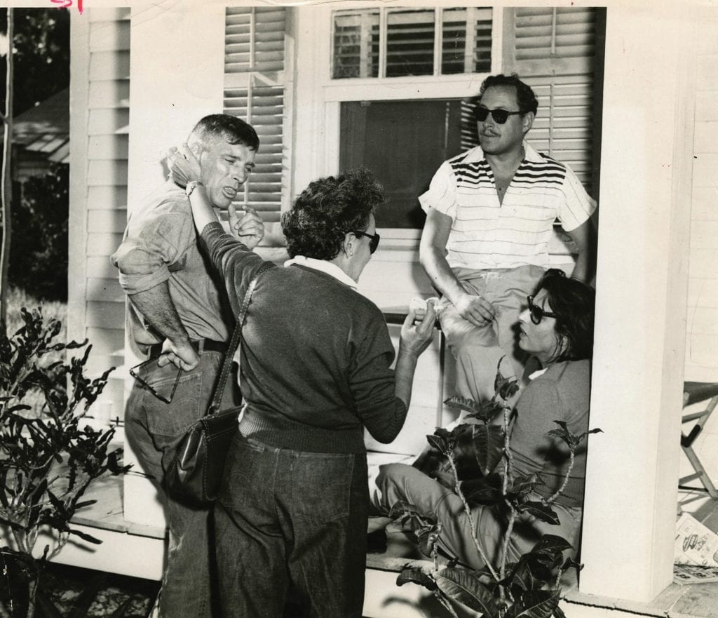 """Tennesse Williams and crew on the set of """"The Rose Tattoo,"""" which was filmed in Key West. COURTESY PHOTO"""