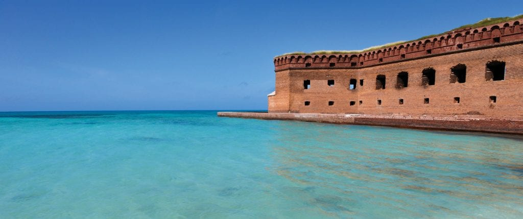 The crystal clear waters around the fort are ideal for swimming and snorkeling. SHUTTERSTOCK IMAGES