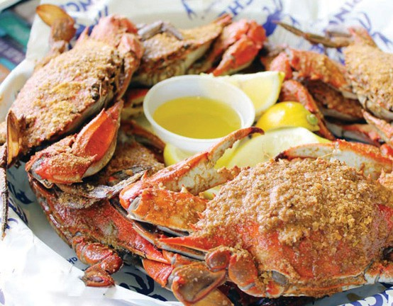 Crab dusted with Old Bay seasoning is a Pinchers favorite.