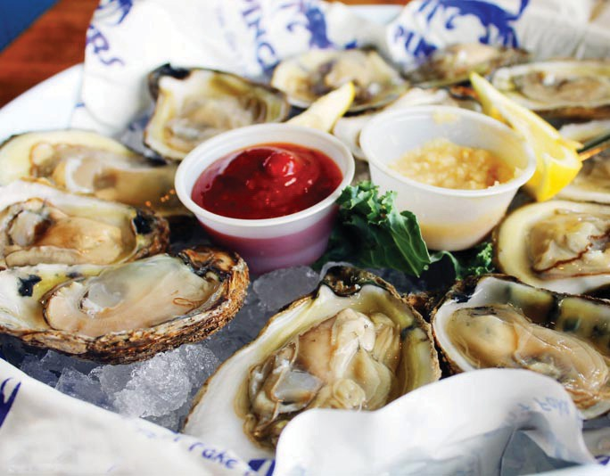 Oysters are always fresh and delicious.