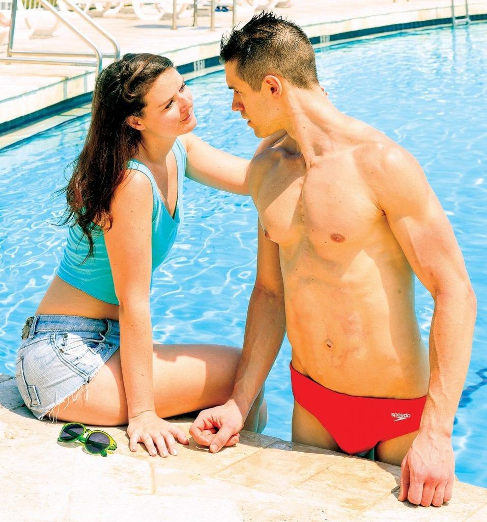 """Red Speedo"" featuress Jessica Miano Kruel and Cody Borah. COURTESY PHOTO"