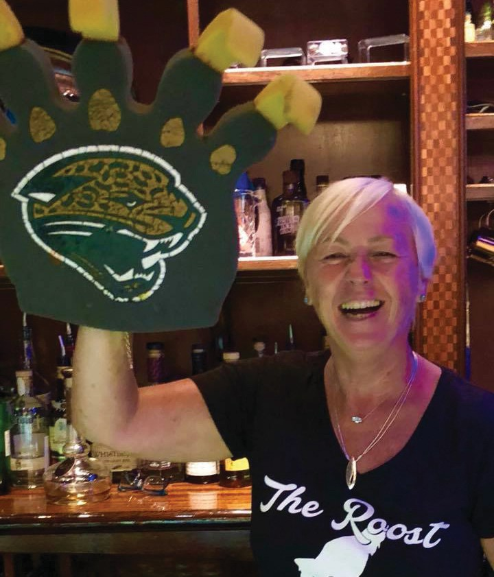 Annette Foley representing her Jacksonville Jaguars at The Roost. COURTESY PHOTO