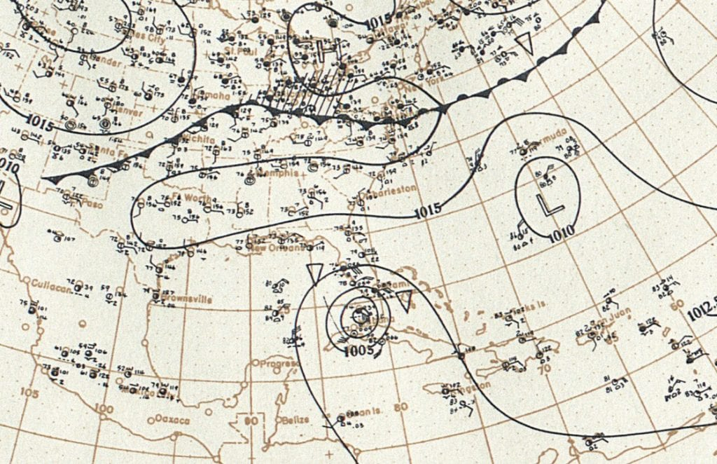 Detail from an original synoptic weather map showing the 1919 hurricane. KEY WEST ART & HISTORICAL SOCIETY / COURTESY IMAGE