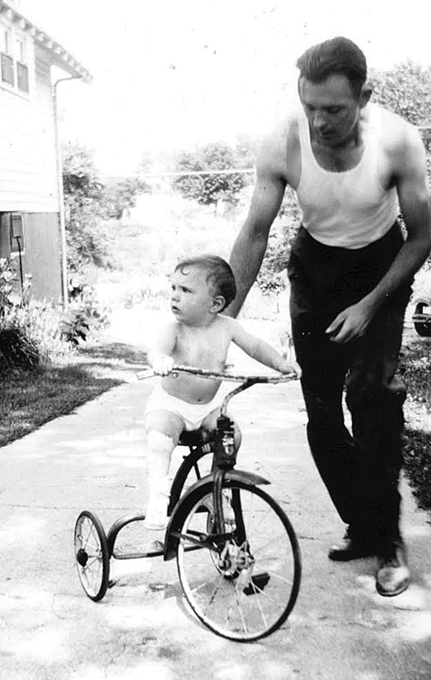 From left: Clyde Butcher as a toddler and then suited up with his father, Clyde Butcher Sr. Butcher played football in high school. He married Niki Vogel in 1963. PHOTOS COURTESY OF NIKI BUTCHER, JACKIE BUTCHER OBENDORF / CLYDE BUTCHER PHOTOGRAPHY