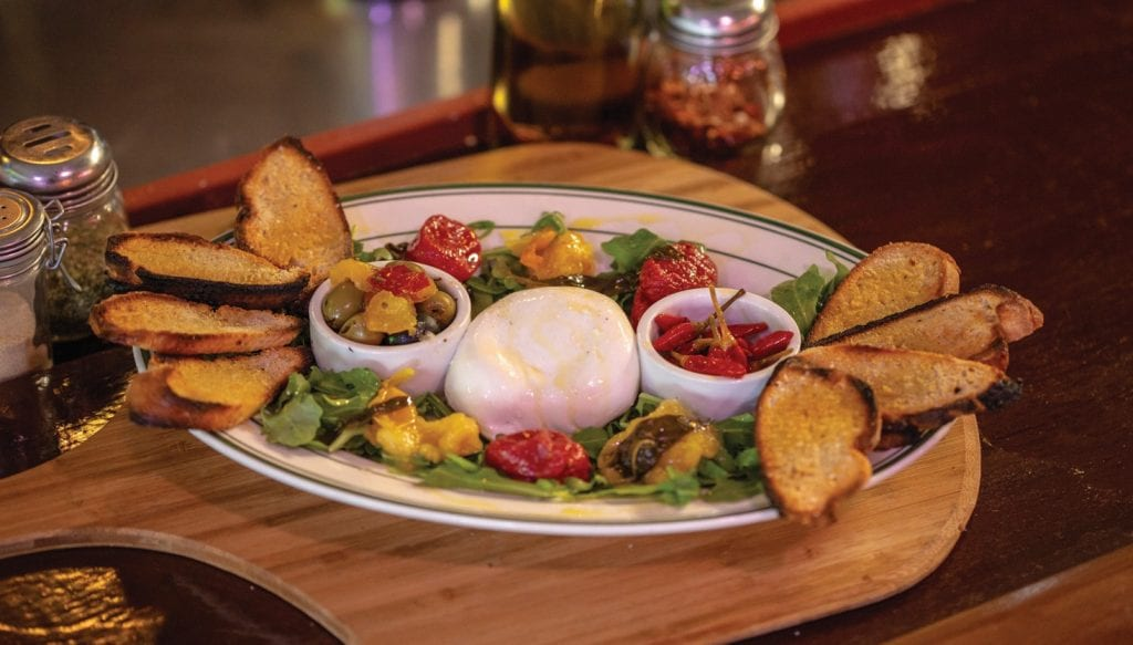 The burrata appetizer salad.