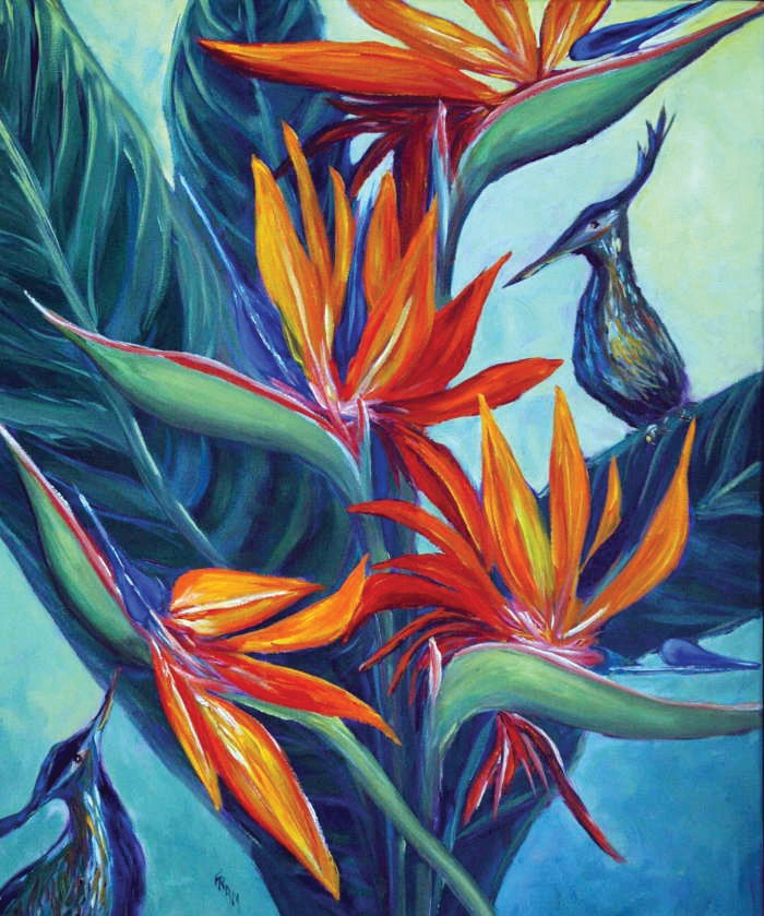 "Right: ""Birds of Paradise"" by Fran Decker. More of Decker's work and others artists can be seen at the Frangipani Gallery in suites 1102 A and B on Duval Street."