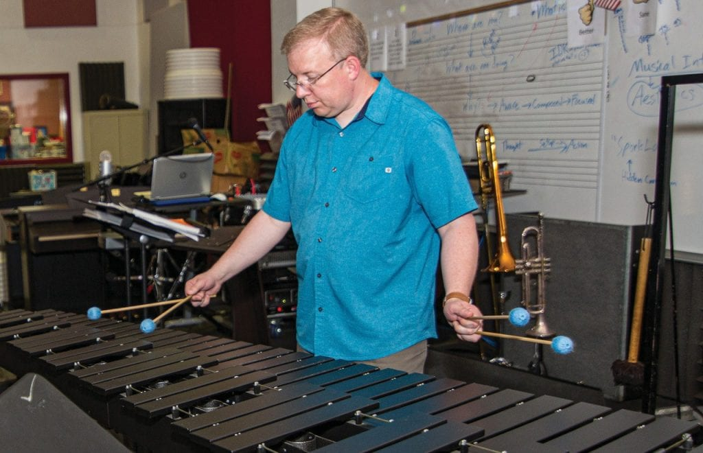 Taking a pause from creating new work during his artist residency at The Studios of Key West, musician Ben Wahlund paid a visit to Key West High School to demonstrate the tremendous scope and resonance of the marimba. JOHNNY WHITE / COURTESY PHOTO