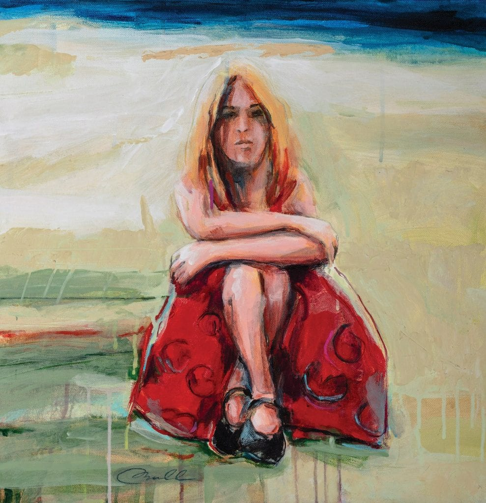 """Left: """"Red Dress and Black Mary Janes"""" by Clifford Bull on display at Gildea Contemporary Gallery."""