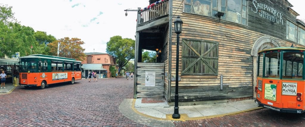 A panoramic view of the Old Town Trolleys along Key West's Old Town city streets. SHUTTERSTOCK IMAGES