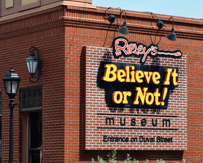 Ripley's Believe It or Not! museum has many oddities on display, including shrunken human heads and rare animal skeletons.