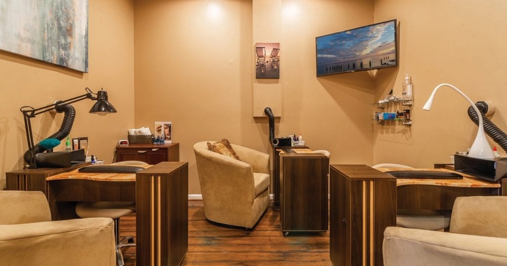The Southernmost Nail Bar & Spa includes six manicure tables and four unique leather pedicure chairs.
