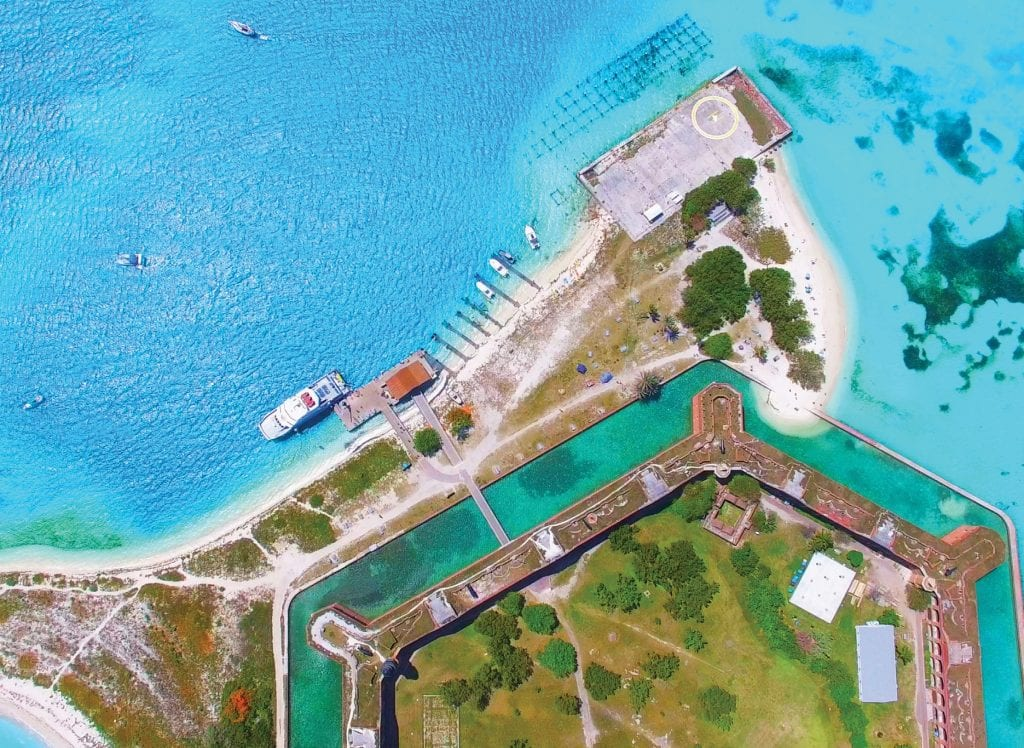 Aerial view of Fort Jefferson National Park at the Dry Tortugas.