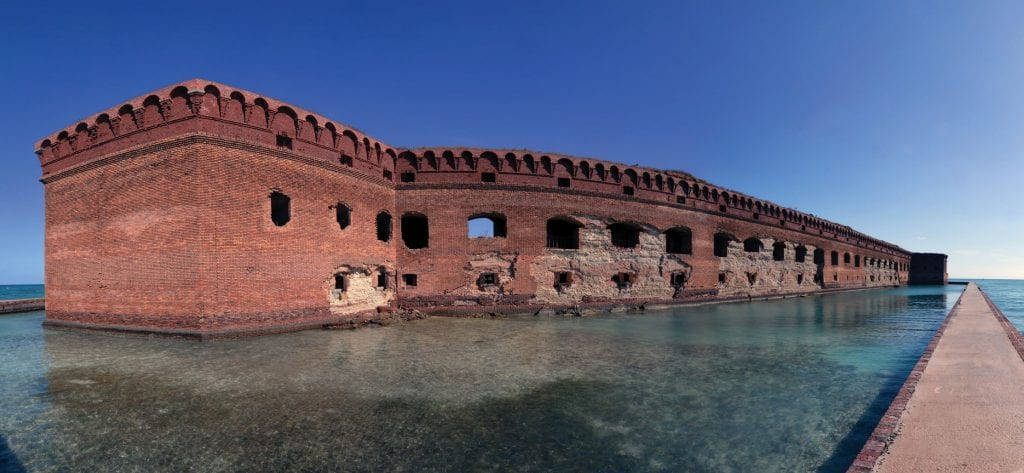 Stroll the surrounding walkways to catch a panoramic view along the moat of Fort Jefferson.