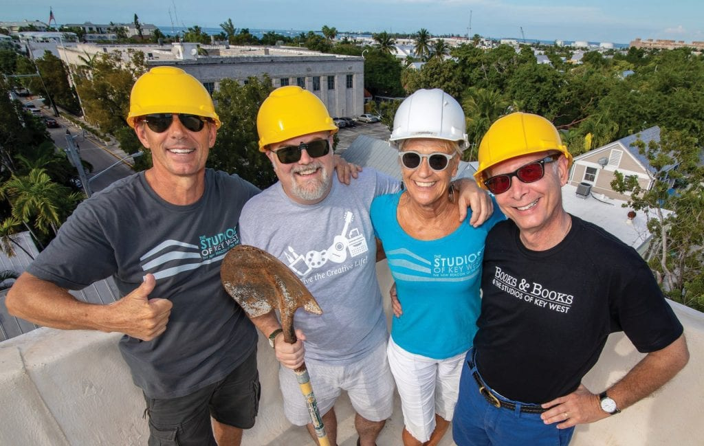 Jeff Ware, Jed Dodds, Rosi Ware and Stephen Kitsakos break ground on Hugh's View, The Studios' rooftop terrace. COURTESY PHOTO