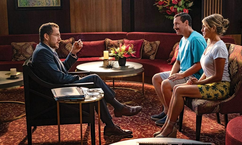 "Jennifer Aniston, Adam Sandler and Dany Boon in ""Murder Mystery."" Sandler signed a reported $250 million, five-film contract with Netflix. NETFLIX"