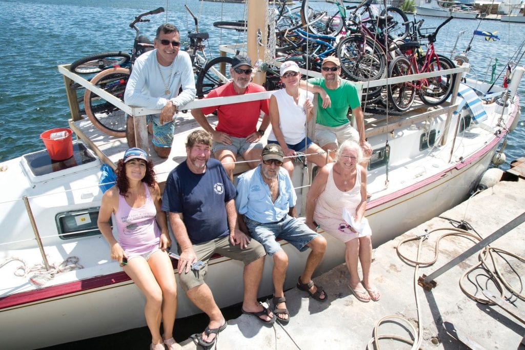 1. Front row: Miranda Knox, Capt. Kiwi, Capt. Finbar Gittelman, Admiral of the Conch Republic Navy and Julie McEnroe. Back row: Mingo Castellanos, Bob Klasing, Lisa Raum and Terry Raum