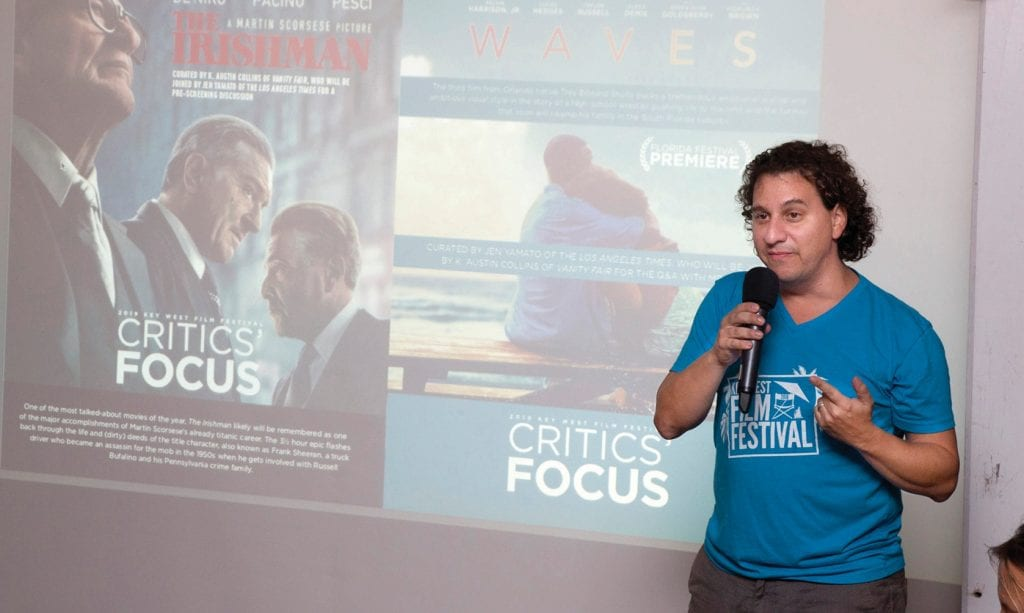 Key West Film Festival Director of Programming Michael Tuckman describes the 2019 festival lineup to attendees at a launch party held on Tuesday, Oct. 29, at Mangoes Restaurant. COURTESY PHOTO
