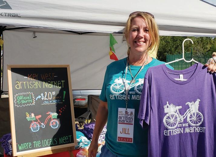 Left: Jill Snodgrass with Key West Artisan Market T-shirts. COURTESY PHOTOS