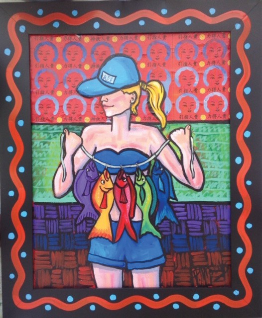 """A piece from Pam Hobbs' """"Women with Fish"""" exhibit. COURTESY PHOTO"""