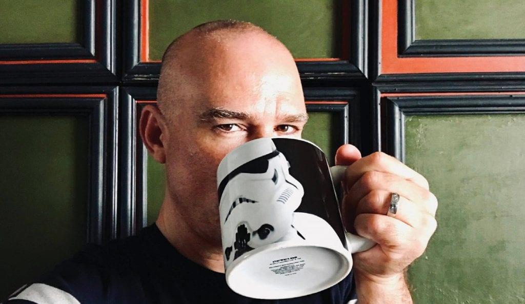 Scot Forste is every bit as mischievous as the gaze he's hiding behind that Stormtrooper mug. COURTESY PHOTO