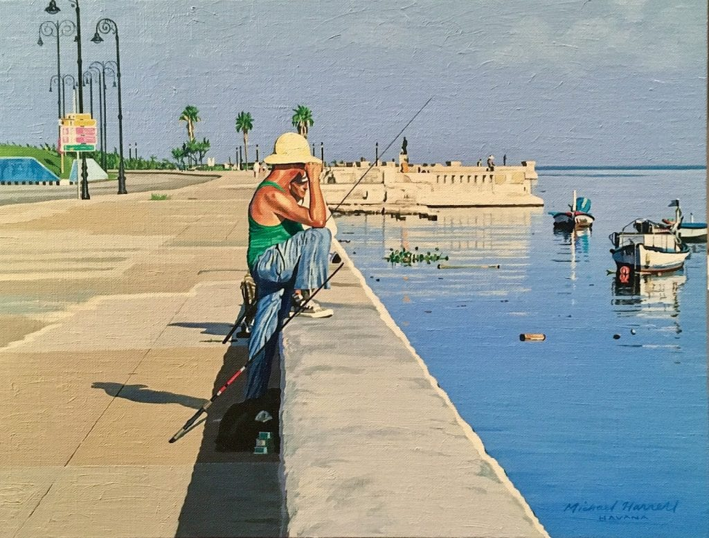 "Paintings from Michael Harrell's ""Havana Shadows"" exhibit."