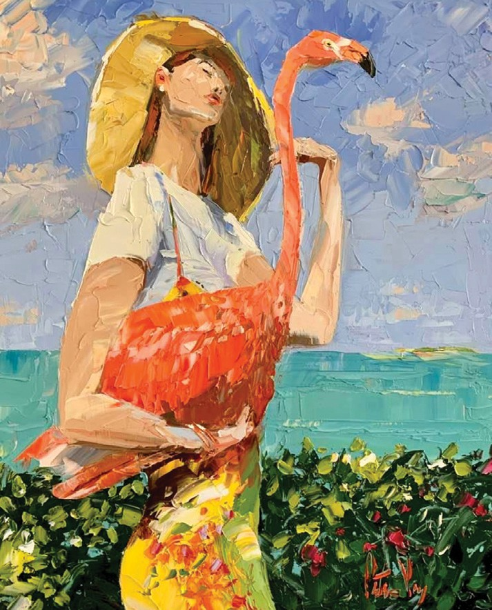 """""""Woman with Flamingo,"""" top, and """"Reflections,"""" above, by Peter Vey."""