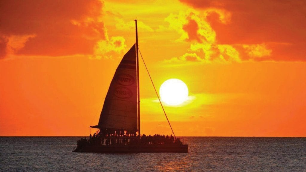 Take a romantic sunset sail on one of Fury's catamarans. COURTESY PHOTO