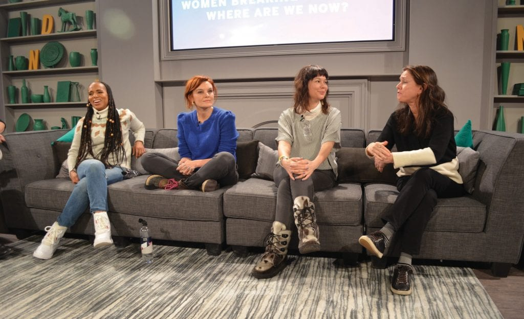 "Kerry Washington, Frankie Shaw, Lisa Jackson and Julie Taymor at the ""Women Breaking Barriers Year 3: Where Are We Now?"" panel during Sundance 2020 in Park City, Utah. ERIC RADDATZ / FLORIDA WEEKLY"