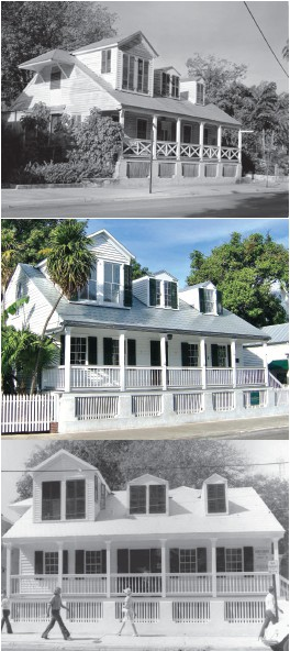 The Captain George Carey House through the years, likely the second oldest structure in Key West. This house was built in 1834. COURTESY PHOTO
