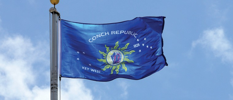 "The conch shell flag is the visual representation of the Conch Republic, the micro nation created when Key West ""seceded"" from the United States back in the early 1980s. COURTESY PHOTO"