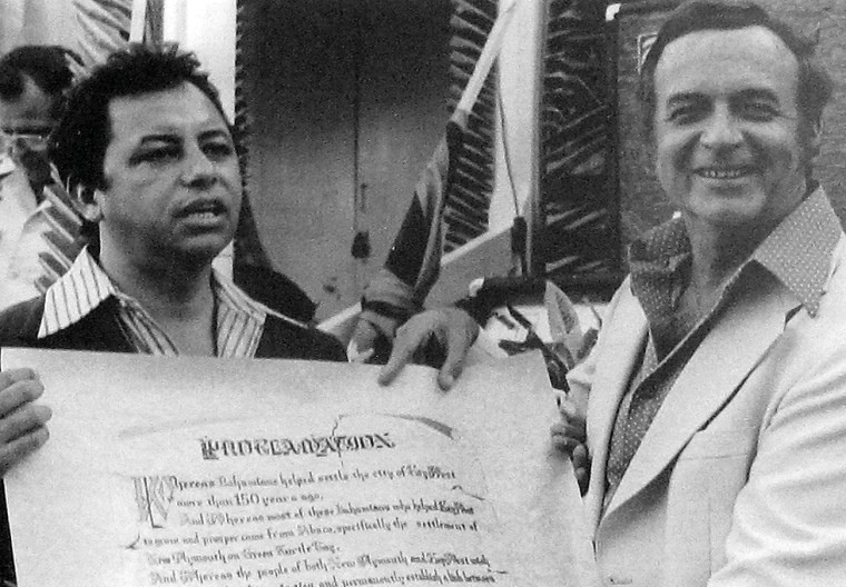 "Bahamian Member of Parliament George Smith presents the Sister City proclamation to Key West Mayor Charles ""Sonny"" McCoy in May 1977. FLORIDA KEYS PUBLIC LIBRARY"