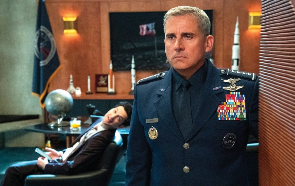 """Steve Carell and Ben Schwartz in """"Space Force,"""" which is set to stream on Netflix May 29. AARON EPSTEIN / NETFLIX IMAGE"""