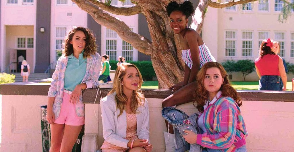 """Jessica Rothe, Jessie Ennis, Ashleigh Murray, and Chloe Bennet in """"Valley Girl,"""" screening May 8. ORION PICTURES"""