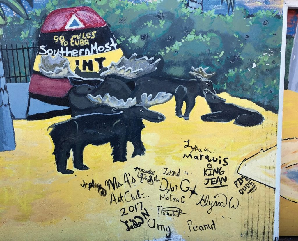 """Detail from a mural by """"Ms A's Art Club 2017"""" on the Eisenhower Drive Moose Lodge."""