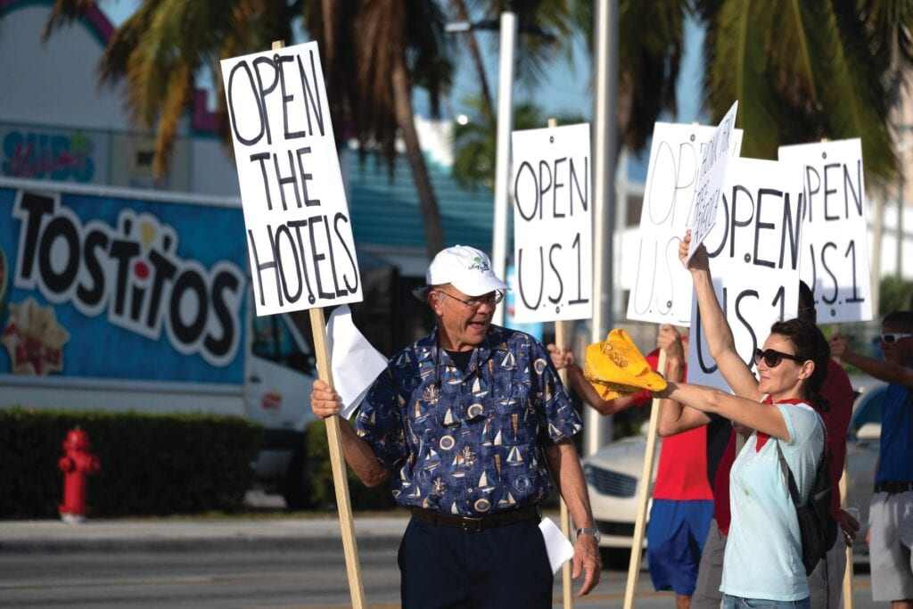 Protestors gathered last week to express their displeasure with the shutdown. PHOTOS BY MARK HEDDEN
