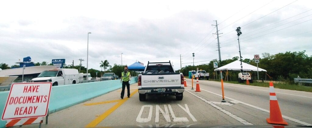 The checkpoint at the entry to the Florida Keys.